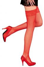 Bas autofixants Camilla Rouge - Anne d'Alès : Sublimez vos jambes avec les bas en fine résille Camilla, des bas rouges autofixants créés par Anne d'Alès.