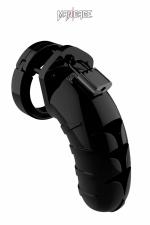 Cage de chasteté 11,5cm ManCage 04 noir : Cage de chasteté masculine noire, ajustable, longueur 11,5 cm, d'un design légèrement différent du Modèle 3 de la marque.