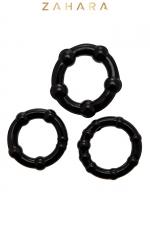 Set 3 Cockrings noir - Zahara : Ensemble de 3 anneaux pénien, diamètre 3 à 3,5 cm extensible,  noir, en TPR permettant de prolonger et renforcer l'érection.